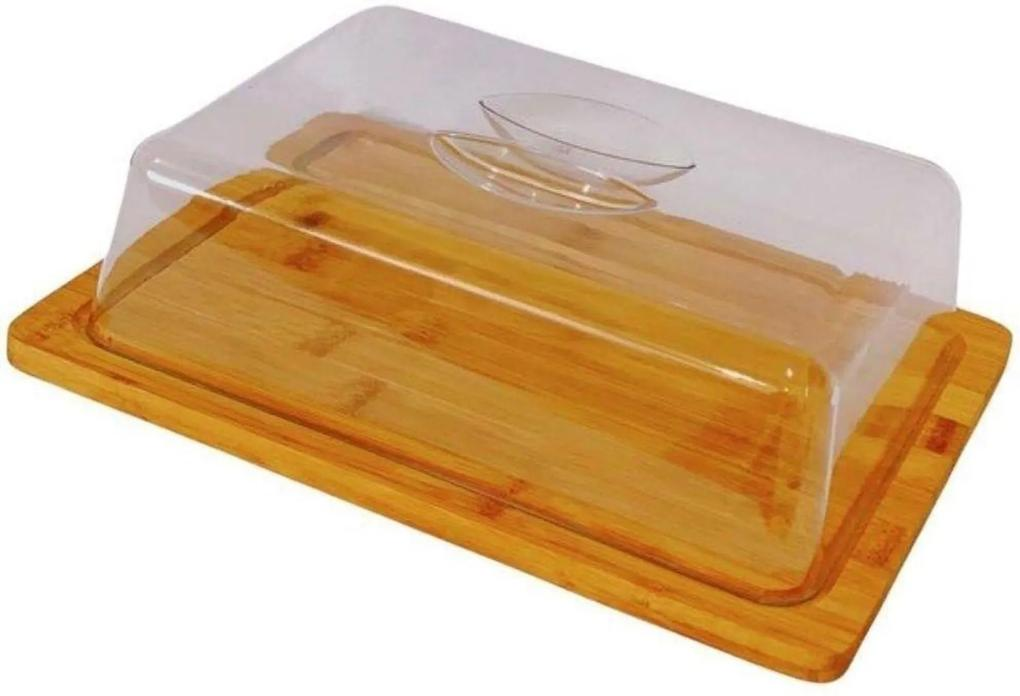 Porta bolo em bambu Redondo com tampa 24,5 cm -Wincy