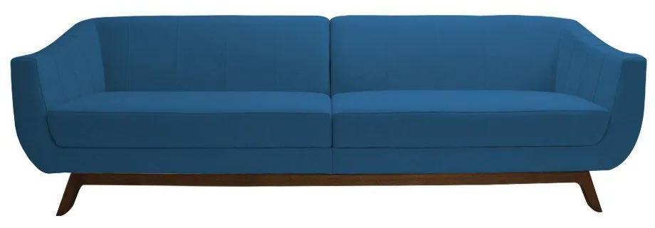 Sofá 3 Lugares Boomer 230cm Veludo Azul - Gran Belo