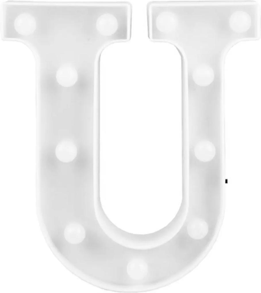 Luminária Adoraria Letra Led U Luminosa Branco