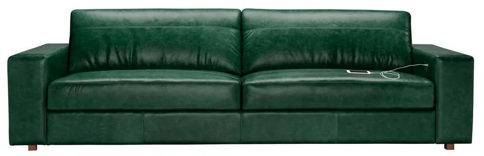 Sofá 3 Lugares Sala de Estar com Entrada USB Oslo 210 cm Couro/Verde - Gran Belo