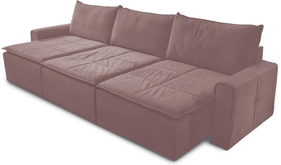 Sofá Retrátil 5 Lugares Luxo 308cm Veludo Rosê - Gran Belo