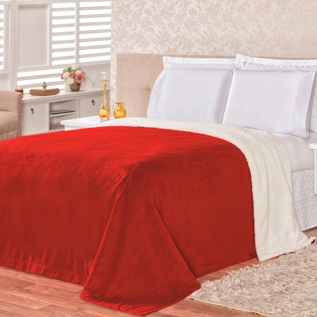 Cobertor Malmo Vermelho Dupla Face King - Tecido Sherpa e Manta Microfibra