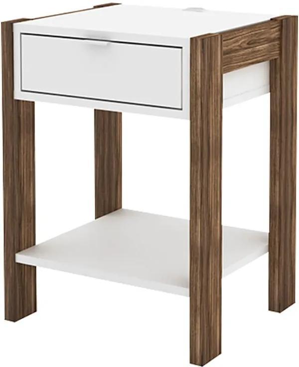 Mesa de Cabeceira Collect C/ Gaveta Branco / Nogal