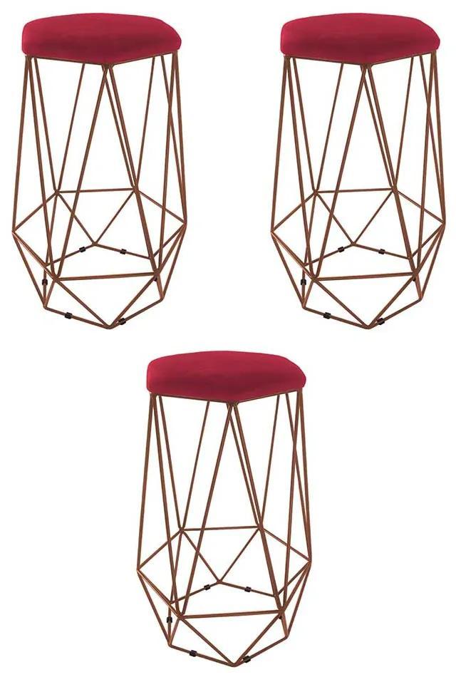 Kit 3 Banquetas Aramado Eiffel Hexágono Bronze Assento Suede Vermelho