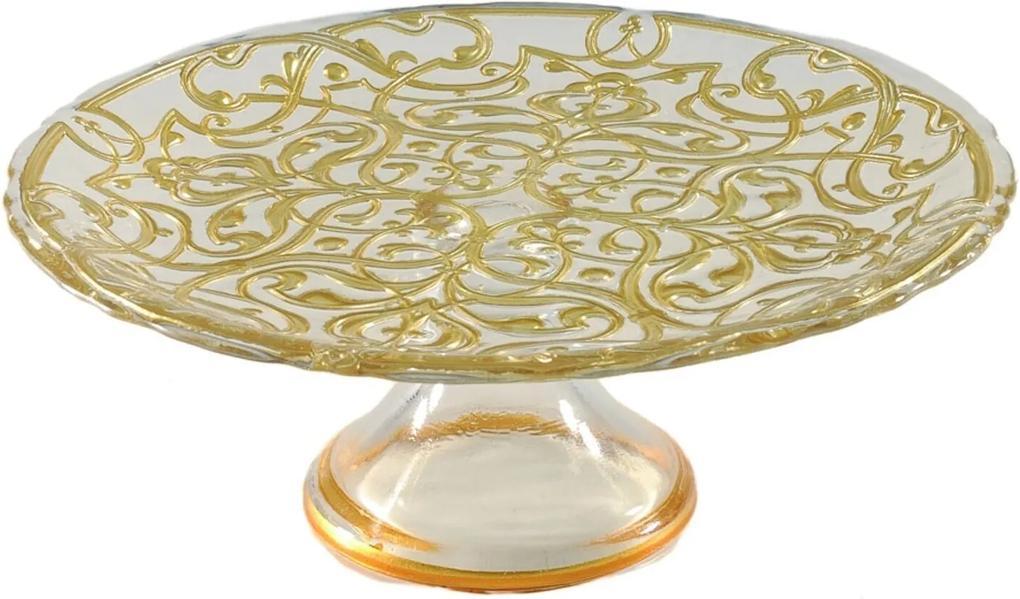 Prato Dunya De Bolo De Vidro Com Pe De Vidro Ouro 21Cm Pasha Dourado