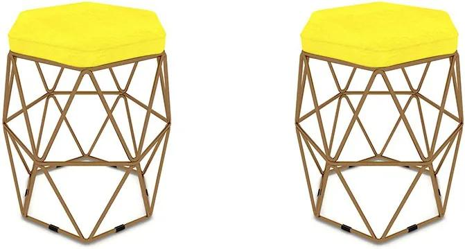 Kit 2 Puffs Aramado Hexagonal Base de Ferro Cobre Suede Amarelo - Sheep Estofados - Amarelo