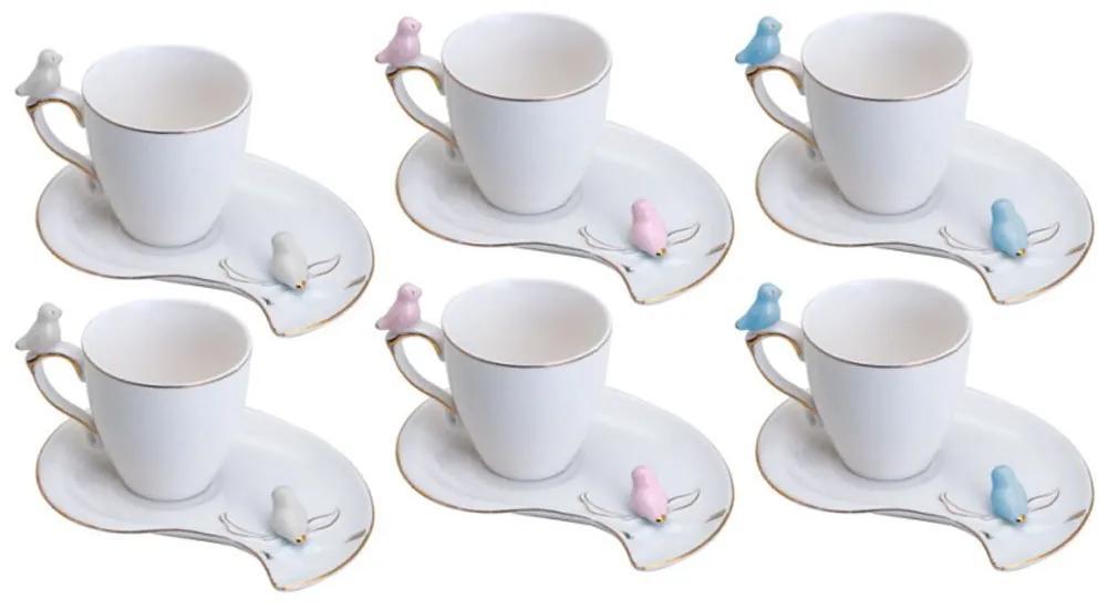 Jogo Xícaras Café Porcelana 6 Peças Cute Birds Plate Colorido 90ml 35467 Wolff