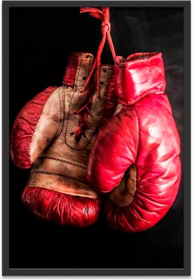 Quadro Oppen House 60X40Cm Boxe Esporte Luva Vermelha Moldura Preta C/Vidro