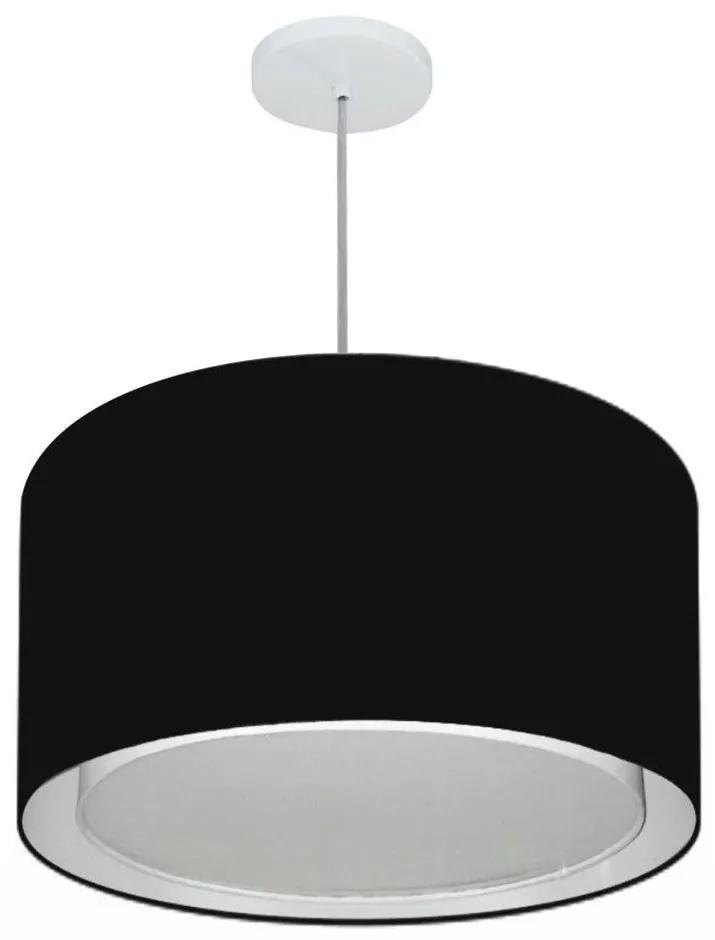 Lustre Pendente Cilíndrico Duplo Md-4293 Cúpula em Tecido 45x30cm Preto - Bivolt