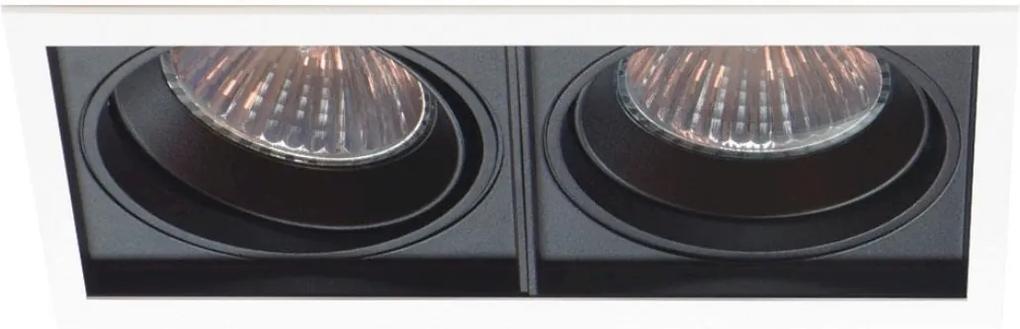 Plafon Embutir Duplo Aluminio Preto Branco Par30 E27 Quadra