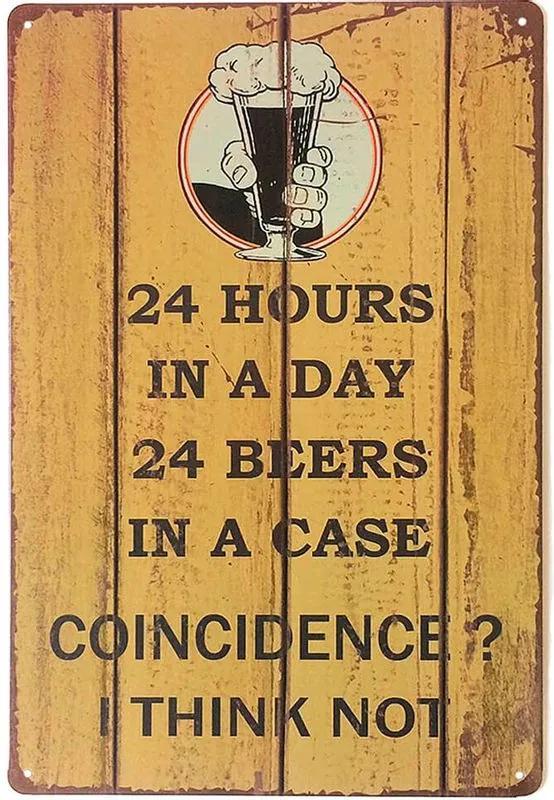 Placa Decorativa de Metal Coincidence Beer 30 x 20 cm
