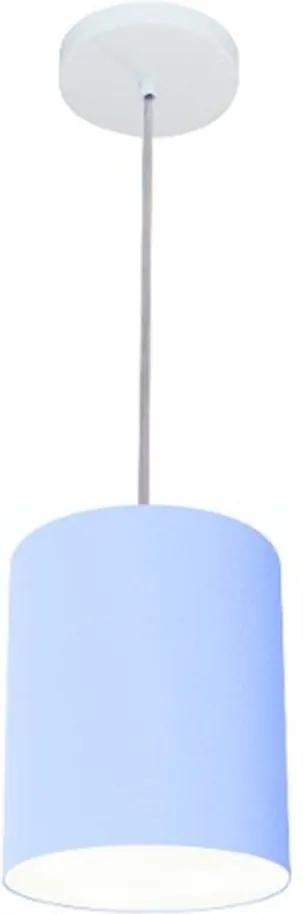 Lustre Pendente Cilíndrico Md-4012 Cúpula em Tecido 18x25cm Azul Bebê - Bivolt