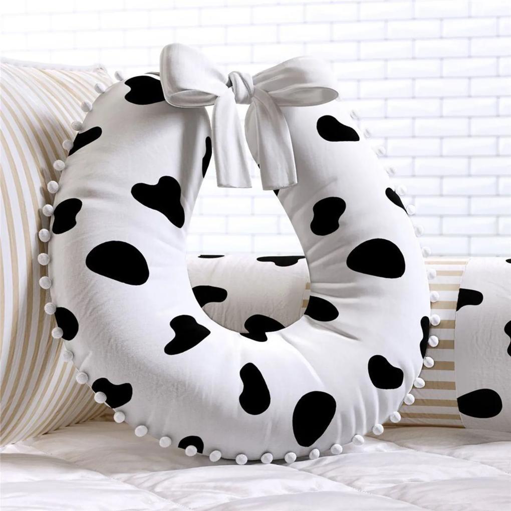 Almofada AmamentaçÁo Branco e Preto Vaquinha GrÁo de Gente Branco