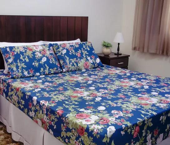 Roupa de Cama Casal Queen Thaiene 100% Algodão 03 Peças - Azul