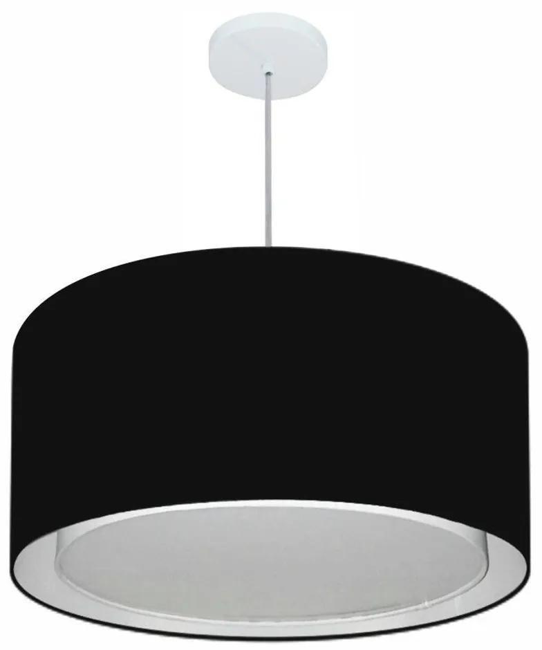 Lustre Pendente Cilíndrico Duplo Md-4296 Cúpula em Tecido 55x30cm Preto - Bivolt