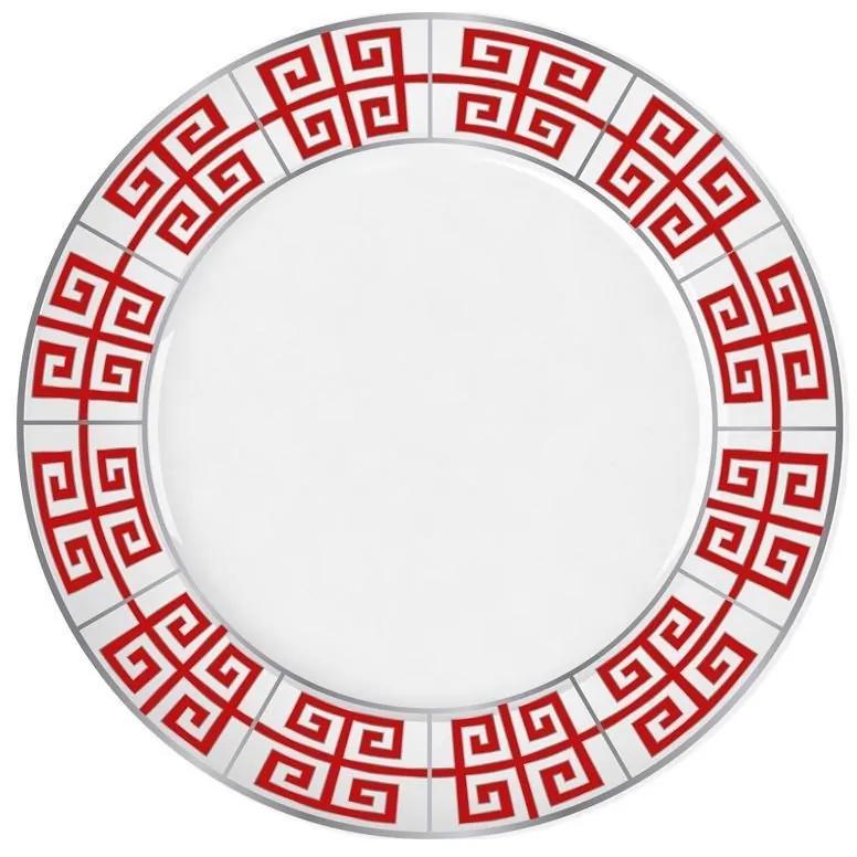 Jogo De 6 Pratos Sobremesa De Porcelana Atenas Vermelho