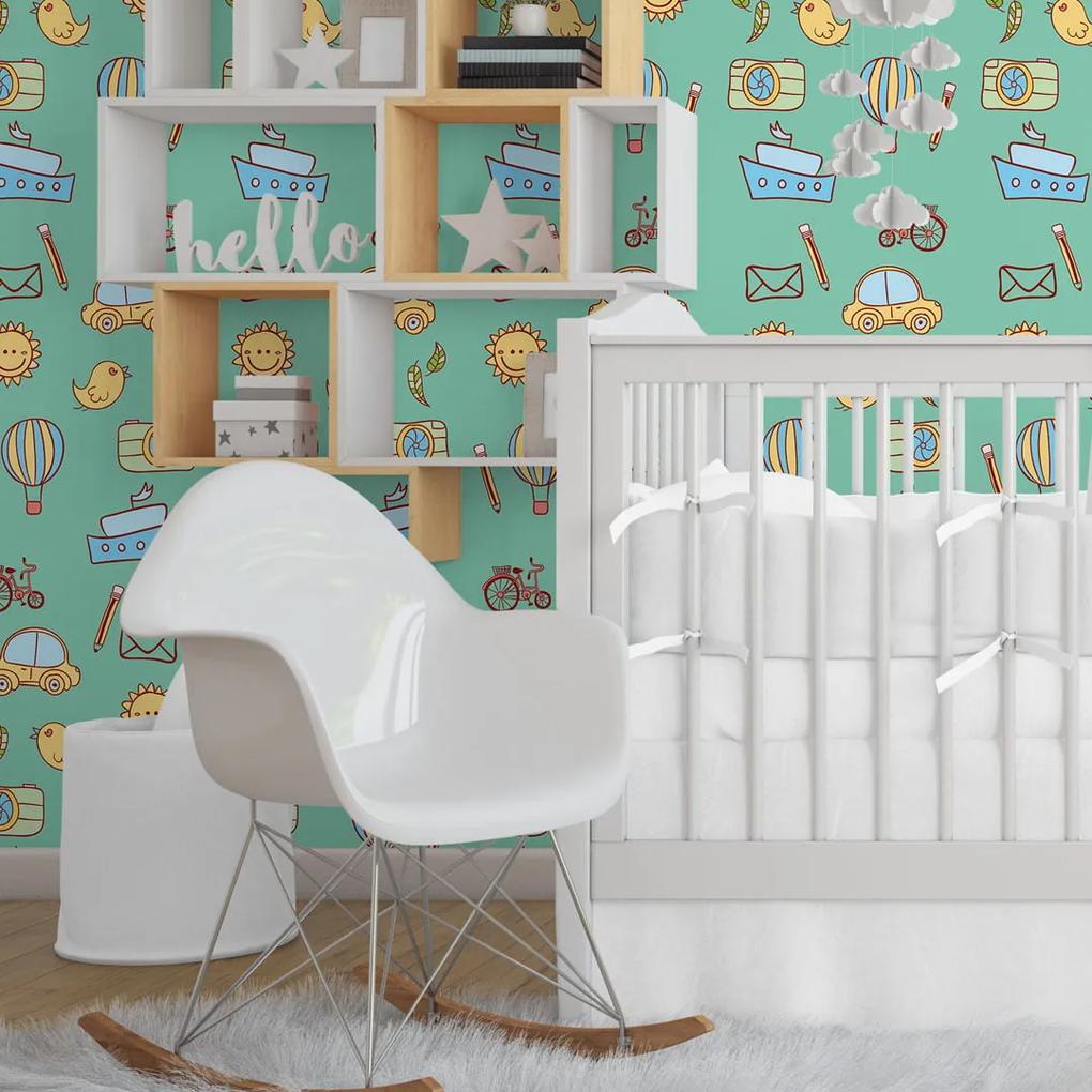 Papel de parede adesivo infantil verde
