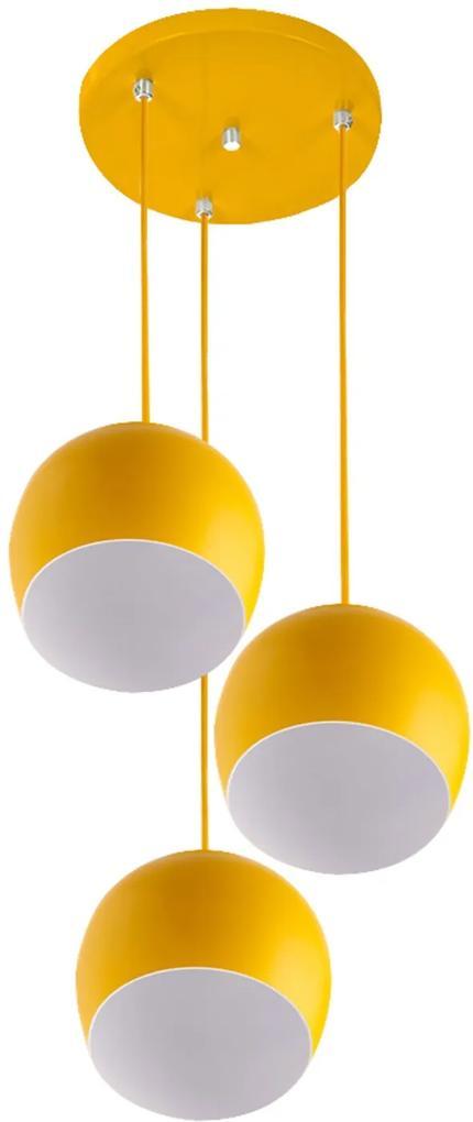 Lustre Pendente Aluminio Bola Triplo 15cm Amarelo