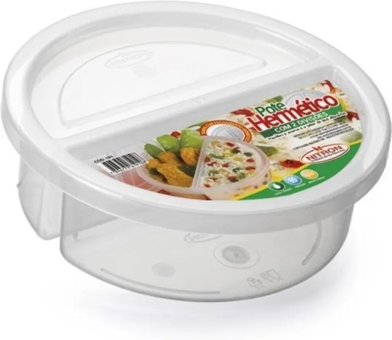 Pote Plástico Microondas Freezer Redondo 2 Divisórias 720ml