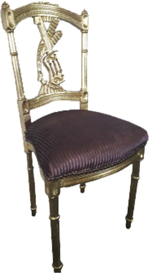 Cadeira Clássica Imperial Folheada a Ouro Vinho Estampado