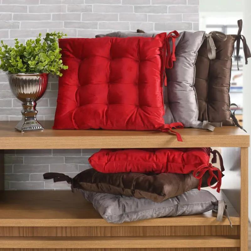 Almofada Assento para Cadeira Futon 42cm x 42cm - Vermelha