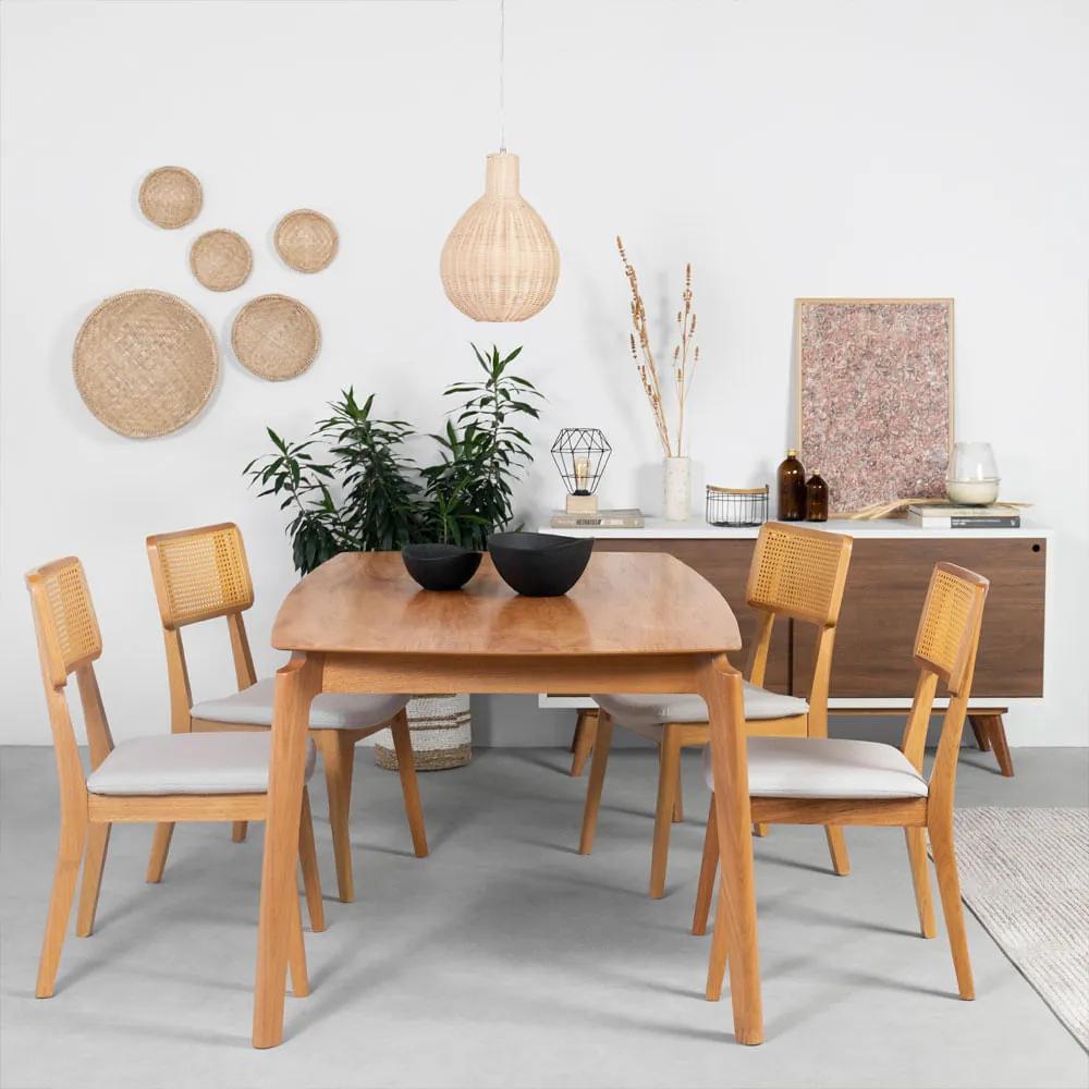 Conjunto Mesa Lala 180x100cm + 4 Cadeiras Lala Cinza Claro
