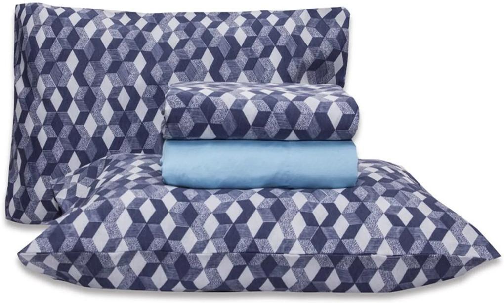 Jogo de Cama Casal Queen Estampado Percal 140 fios 04 peças Premium - Azul Serenity