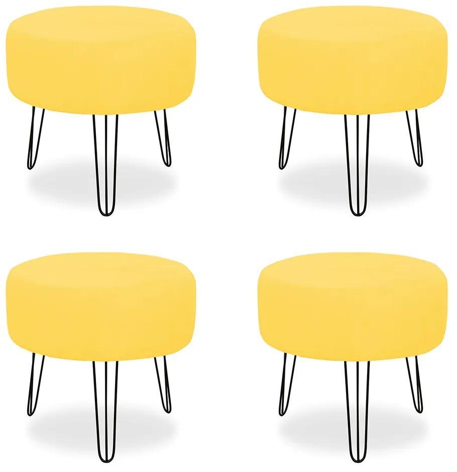Kit 04 Puffs Redondos para Sala Chloe Suede Amarelo