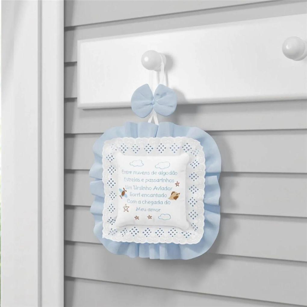 Porta Maternidade Urso Aviador Azul Bebê GrÁo de Gente Azul