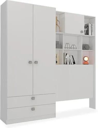 Armário Belini 3 portas, 2 gavetas e 8 nichos - Reversível - para cama box 1,88x0,88, Padrao - Branco