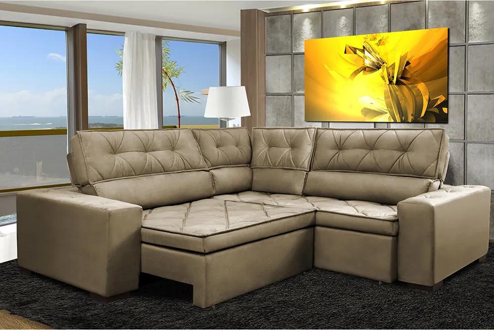 Sofa De Canto Retrátil E Reclinável Com Molas Cama Inbox Austin 2,40m X 2,40m Suede Velusoft Castor