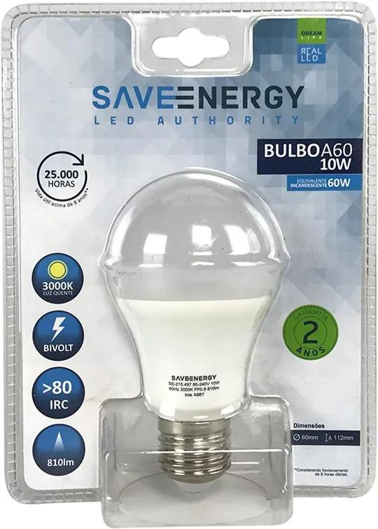 Lâmpada de Led Bulbo E27 10W 3000K - Save Energy - Bivolt
