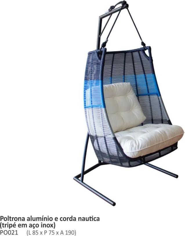 Cadeira de Balanço Arco Íris Corda Náutica Com Tripé De Aço Inox
