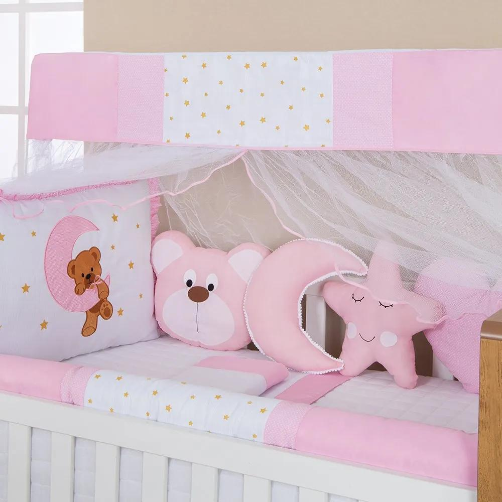 Kit Berço Ursa Carinhosa Rosa 12 Peças