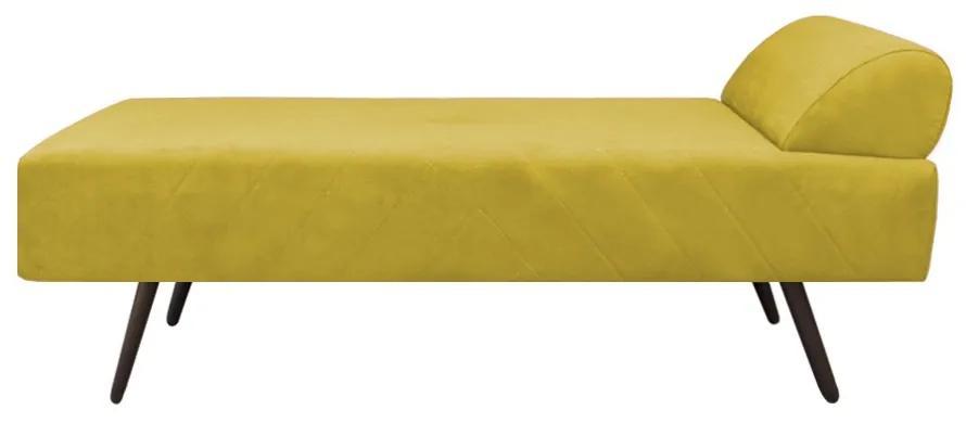 Recamier Divã Patrícia 1,55 m Pés Palito Consultório Suede Amarelo