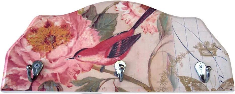 Porta-Chaves Pássaro Vermelho em Madeira - 3 Ganchos - 29x12 cm