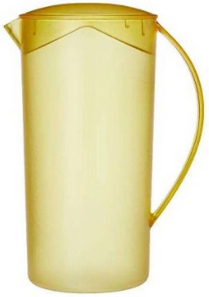 Jarra Suco Água Redonda Cristal 2 Litros Amarelo - Ou