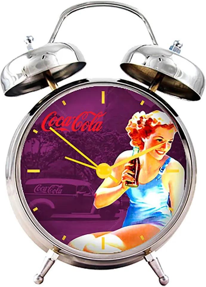 Relógio de Mesa Coca-Cola Pin-Up Brown Lady Roxo em Metal - Urban
