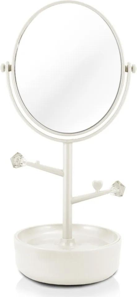 Espelho de Mesa Duplo com Aumento 5x e Porta Bijus Jacki Design Beauty Branco