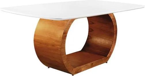 Mesa de Jantar 6 Lugares de Madeira Imbuia/Branco com Tampo de Vidro Branco 2,00m Sirkel