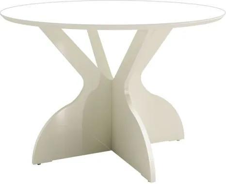 Mesa de Jantar Juventude Redonda cor Off White com Brilho 1,20 MT (DIAM) - 56340 Sun House