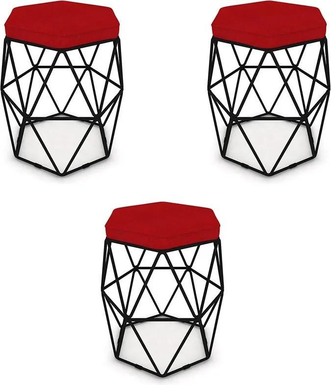 Kit 3 Puffs Aramado Hexagonal Base de Ferro Preta Suede Vermelho - Sheep Estofados - Vermelho