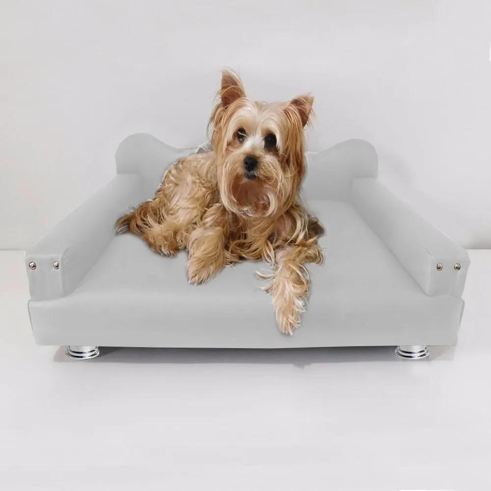 Cama Sofá Pet Meg Para Cães E Gatos Elegante e confortável Courino Branco