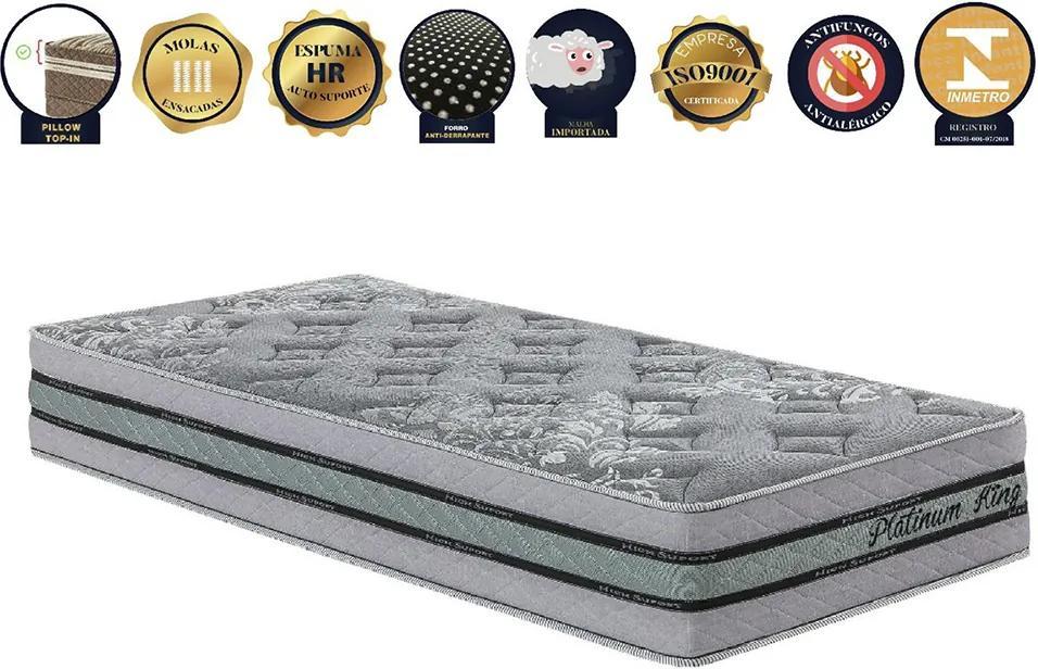Colchão De Molas Ensacadas Solteiro Tradicional Platinum King Prata - Pilow Top-in Com Espumas Progressivas - 88x188x30 - King Konfort