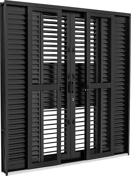 Porta Balcão de Aço de Correr Multiflex Prátika Black Preta 6 Folhas 217x200x16 - 26350310 - Sasazaki - Sasazaki
