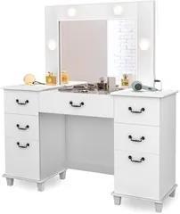 Penteadeira Camarim Com Espelho 7 Gavetas Seul Branco - Móveis Lupi