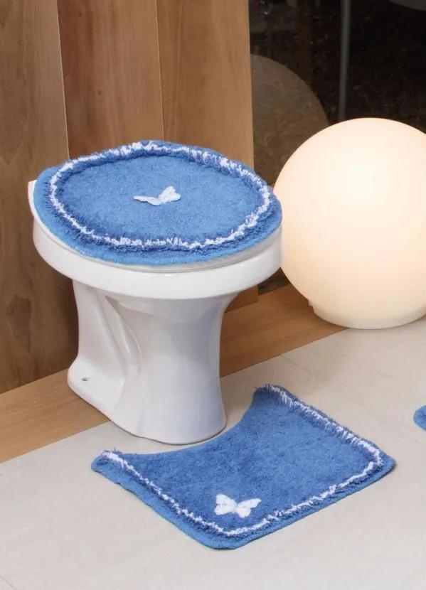Jogo de Banheiro Borboleta Azul 3 Peças