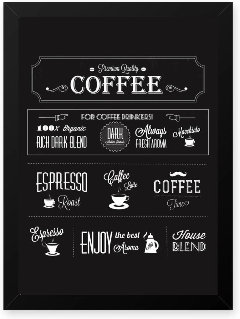 Quadro Decorativo 23x33cm Nerderia e Lojaria graos cafe premium quality preto