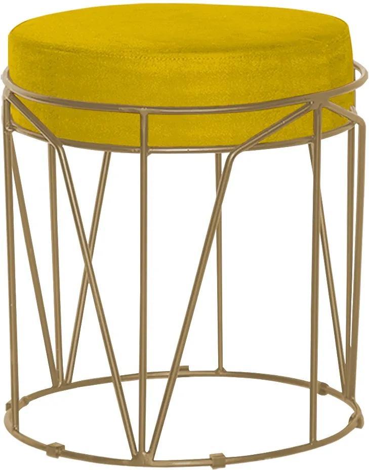 Puff Decorativo Sala de Estar Base Gold Chloe Suede Amarelo - Gran Belo