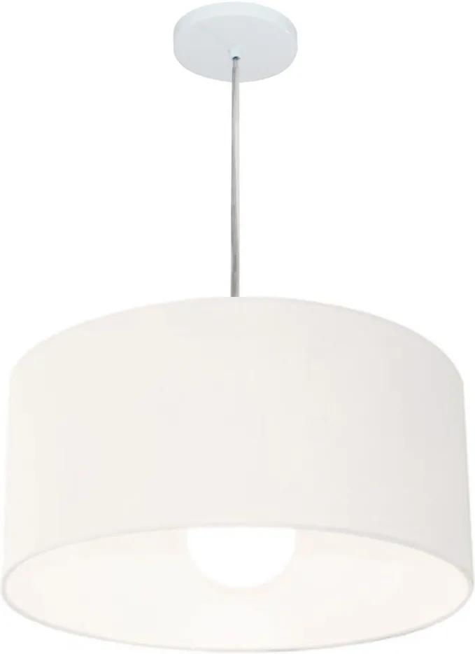 Lustre Pendente Cilíndrico Md-4204 Cúpula em Tecido 45x25cm Branco - Bivolt